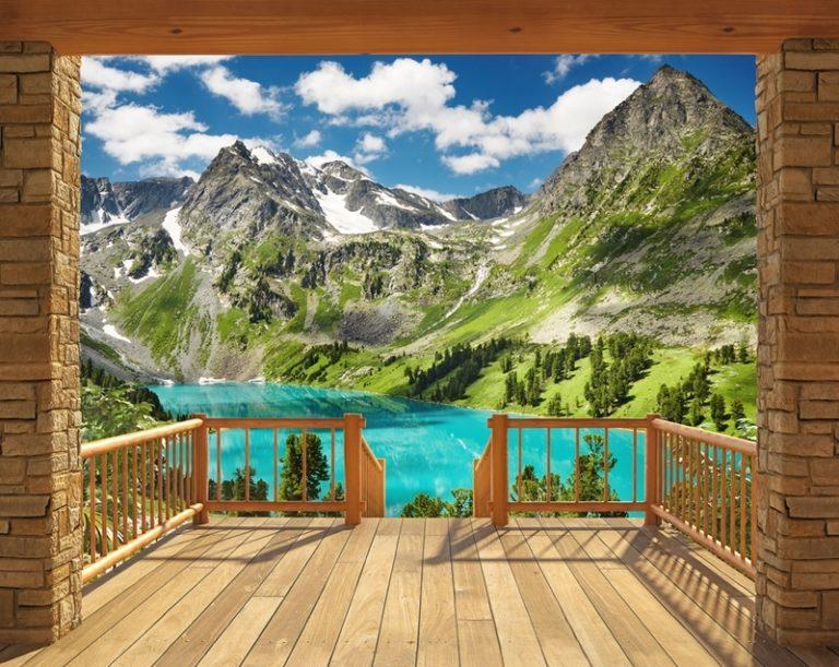 Foto behang Alpine Mountain 43619