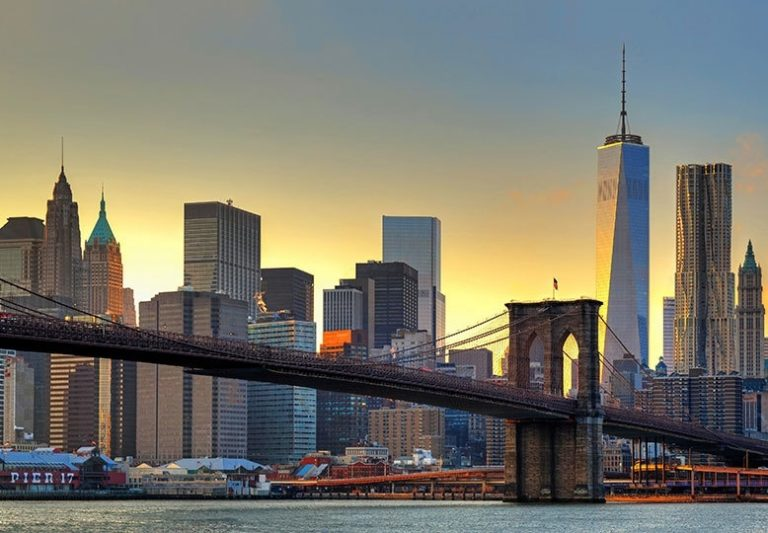 Foto behang Brooklyn Bridge Sunset 00148