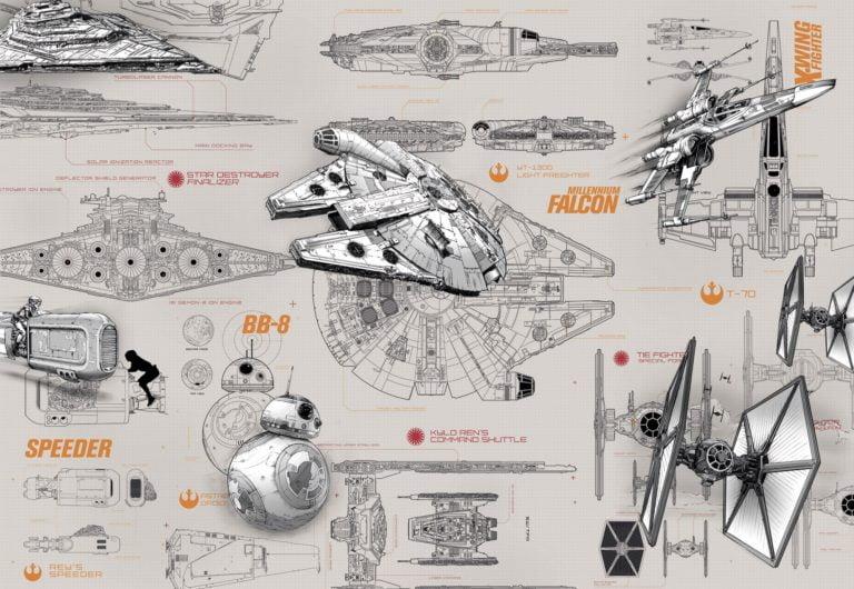 Foto behang Star Wars Blue Print 8-493