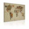 Schilderij - Kaart van de Wereld (Duitse taal)-1