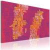 Schilderij - Tekst kaart van Zweden (roze achtergrond)-1