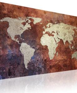 Schilderij - Rusty kaart van de Wereld-1