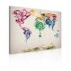 Schilderij - De kaart van de wereld - gekleurde rook paden-1