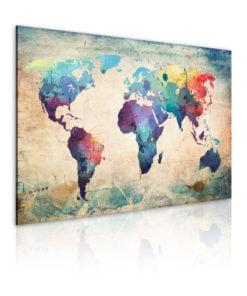 Schilderij - Rainbow-hued kaart-1