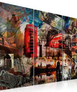 Schilderij - Londen collage - triptiek-1