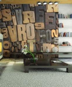 Fotobehang - Houten letters-1