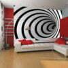 Fotobehang - Zwart-wit 3D tunnel-1