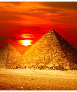 Fotobehang - De Gizeh Necropolis - zonsondergang-2