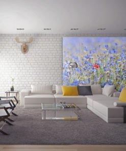 Fotobehang - Een hemel-gekleurde weide - korenbloemen-1