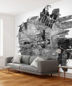 Fotobehang - Black-and-white New York collage-1