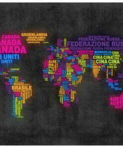 Fotobehang - landkaart, Italiaans - kleuren-2