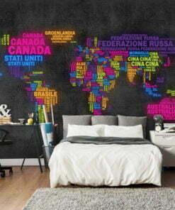Fotobehang - landkaart, Italiaans - kleuren-1