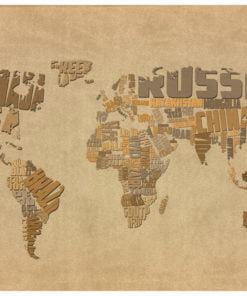 Fotobehang - Kaart van de wereld ontdekkingsreizigers-2