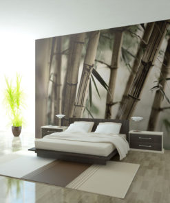 Fotobehang - Fog and bamboo forest-1