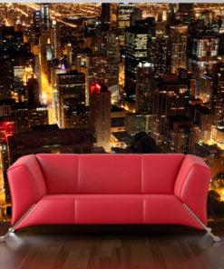 Fotobehang - Stad bij nacht - Chicago, USA-1