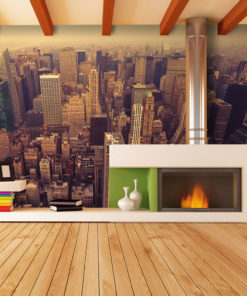 Fotobehang - Bird Eye View van Manhattan, New York-1