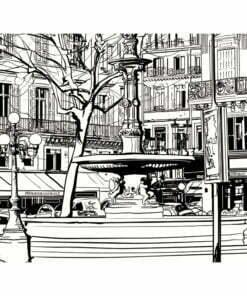 Fotobehang - Sketch of parisian fountain-2