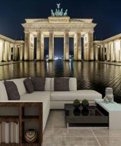 Fotobehang - Brandenburger Tor 's nachts-1