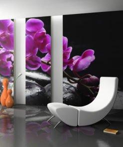 Fotobehang - Ontspannen moment: orchidee bloem en stenen-1