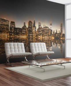 Fotobehang - New York en goud-1