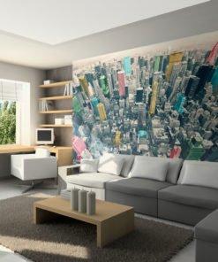 Fotobehang - Kleurrijke reflecties van New York-1