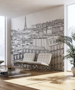 Fotobehang - Schetsboek Parijse's-1