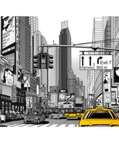 Fotobehang - Gele taxi's in NYC-2