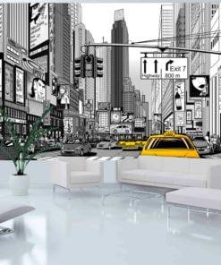 Fotobehang - Gele taxi's in NYC-1