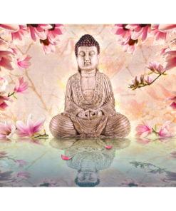 Fotobehang - Boeddha en magnolia-2