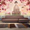 Fotobehang - Boeddha en magnolia-1