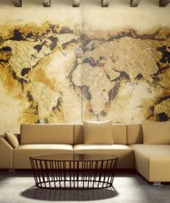 Fotobehang - Kaart van de wereld gold-diggers '-1