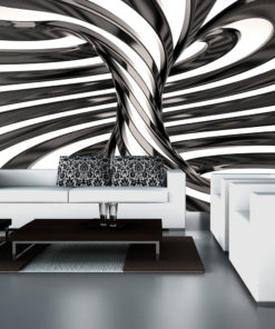Fotobehang - Black and white swirl-1