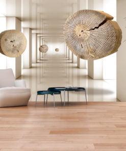 Fotobehang - Flying Discs of Wood-1