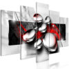 Schilderij - Shiny Stones (5 Parts) Wide Red-1