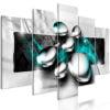 Schilderij - Shiny Stones (5 Parts) Wide Turquoise-1