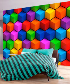 Fotobehang - Colorful Geometric Boxes-1