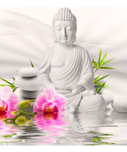 Fotobehang - Buddha and Orchids-2