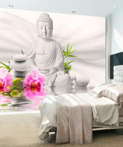 Fotobehang - Buddha and Orchids-1