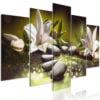 Schilderij - Lilies and Stones (5 Parts) Wide Green-1