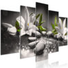 Schilderij - Lilies and Stones (5 Parts) Wide Grey-1