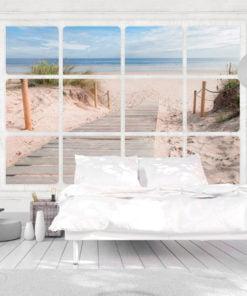 Fotobehang - Window & beach-1