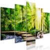 Schilderij - Forest Footbridge (5 Parts) Wide-1