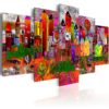 Schilderij - Colourful Small Town-1