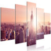Schilderij - Sun over Manhattan (5 Parts) Wide Orange-1