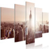 Schilderij - Sun over Manhattan (5 Parts) Wide Brown-1