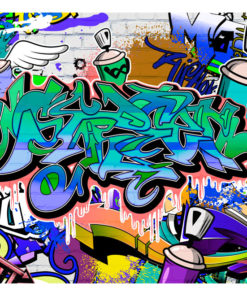 Fotobehang - Graffiti: blue theme-2