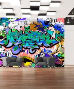 Fotobehang - Graffiti: blue theme-1