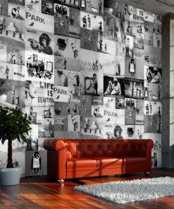 Fotobehang - Banksy - grey collage-1