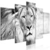 Schilderij - The King of Beasts (5 Parts) Wide Black and White-1