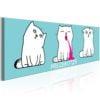 Schilderij - Miezekotze: Cat Trio (Blue)-1